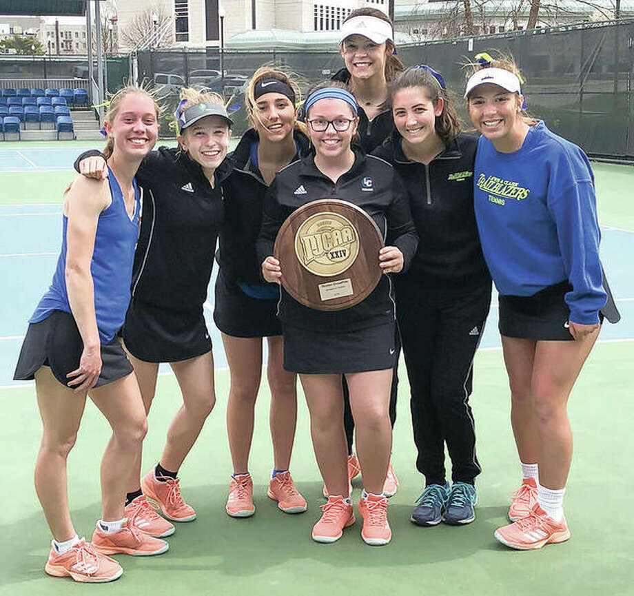 The LCCC women's tennis team recently won the Region 24 championship with an 8-1 win over Kaskaskia College. Pictured, from left, are Jenna Brown, Ashton Tewell, Bailey Jarman, Laura Moore, Marta Garcia, Anna Holland and Noni Updyke. Photo:     LCCC Athletics
