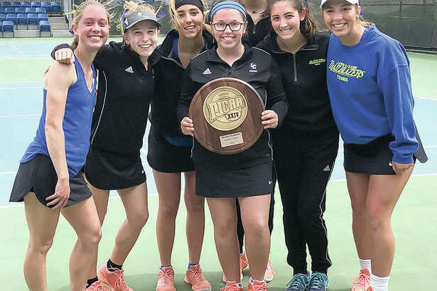 The LCCC women's tennis team recently won the Region 24 championship with an 8-1 win over Kaskaskia College. Pictured, from left, are Jenna Brown, Ashton Tewell, Bailey Jarman, Laura Moore, Marta Garcia, Anna Holland and Noni Updyke.