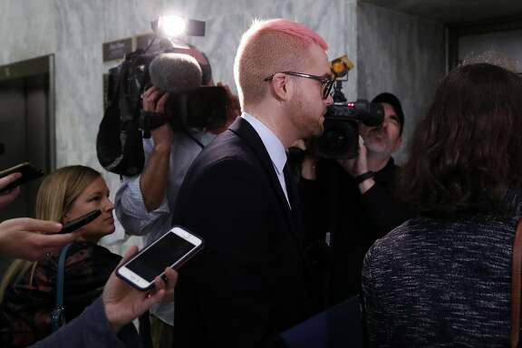Christopher Wylie, the Cambridge Analytica whistleblower, departs after meeting with House Judiciary Democrats, on Capitol Hill, Tuesday, April 24, 2018 in Washington. (AP Photo/Alex Brandon)