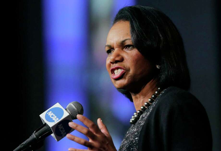 "FILE - In this Jan. 14, 2016, file photo, former Secretary of State Condoleeza Rice speaks during a luncheon at the NCAA Convention in San Antonio. College basketball spent an entire season operating amid a federal corruption investigation that magnified long-simmering problems within the sport, from unethical agent conduct to concerns over the ""one-and-done"" model. On Wednesday morning, April 25, 2018, the commission headed by Condoleezza Rice will present its proposed reforms to university presidents of the NCAA Board of Governors and the Division I Board of Directors at the NCAA headquarters in Indianapolis.(AP Photo/Eric Gay, File) Photo: Eric Gay, STF / Copyright 2018 The Associated Press. All rights reserved."