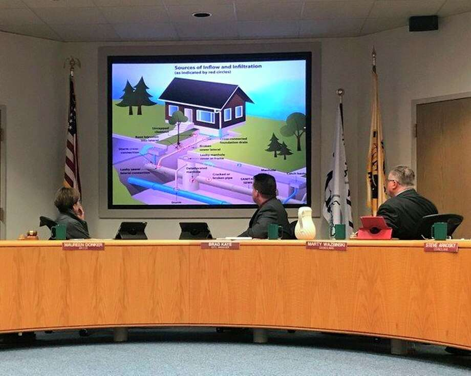 During an April 23 Midland City Council meeting, City of Midland Utilities Director Joe Sova presented a progress update of the $289,000 sanitary and storm sewer study which has been ongoing since October 2017. (Kate Carlson/kcarlson@mdn.net)