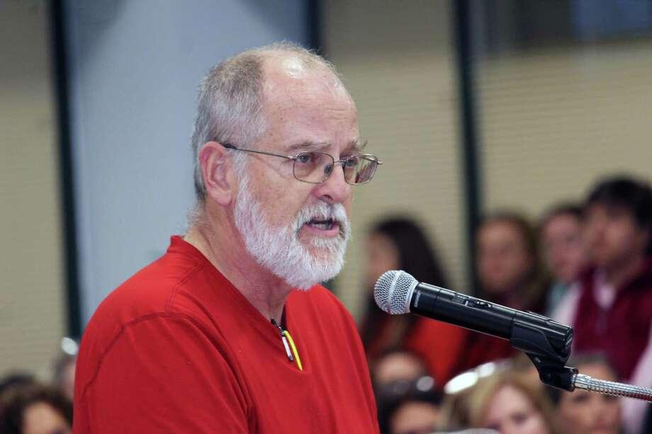 Westport Education Association co-president John Horrigan addresses the Board of Education April 23, 2018, in Westport, Conn. Photo: Justin Papp / Hearst Connecticut Media / Westport News