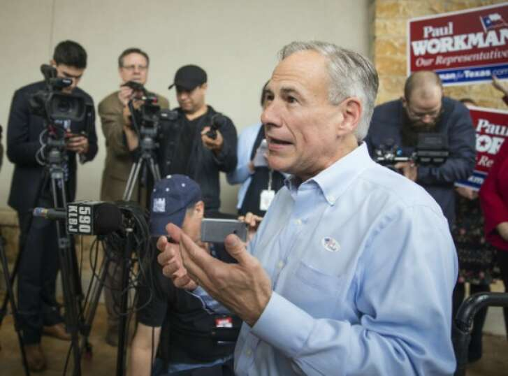 Greg Abbott, shown stumping here in February 2018, later made a border security claim that PolitiFact Texas found MOSTLY FALSE (Austin American-Statesman photo, Ricardo B. Brazziell).