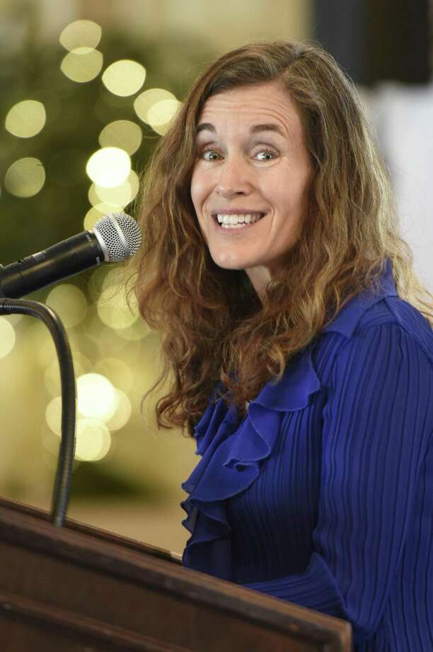 Melissa Bernstein speaks at the Greenwich United Way's annual Sole Sisters luncheon at Greenwich Country Club in Greenwich, Conn. Tuesday, April 24, 2018. Since being founded as the Womens Initiative for the Greenwich United Way in 2005, Sole Sisters has raised more than $1.5 million for causes ranging from improving educational services in the community to supporting mental health initiatives. Photo: Tyler Sizemore / Hearst Connecticut Media / Greenwich Time