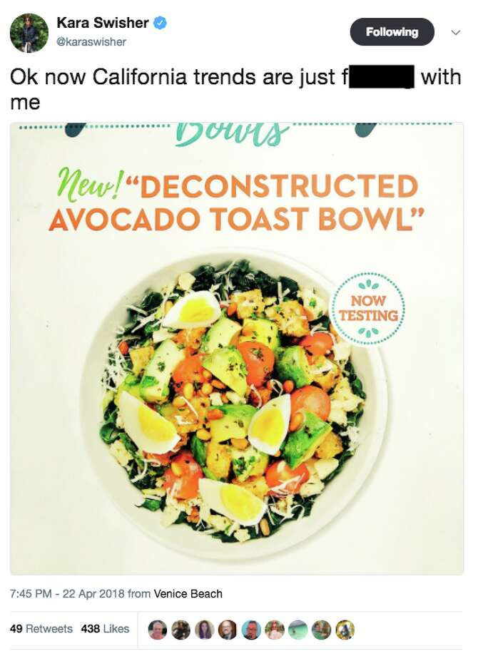 """S.F. tech journalist Kara Swisher spotted a Venice Beach restaurant with a """"deconstructed avocado toast bowl"""" on its menu and posted a photo on Twitter. People in social media mocked the food offering. Photo: Twitter Screen Grab"""