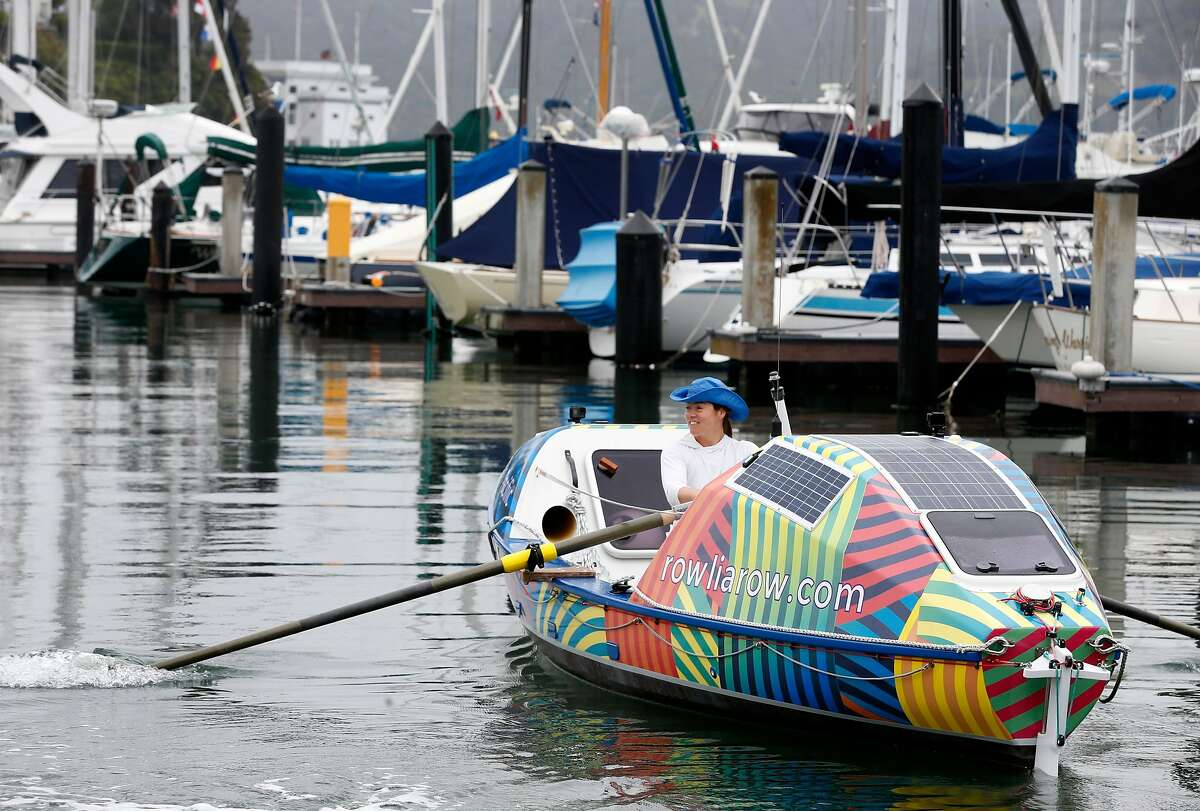 Lia Ditton departs aboard her 21-foot boat from the San Francisco Yacht Club in Belvedere.