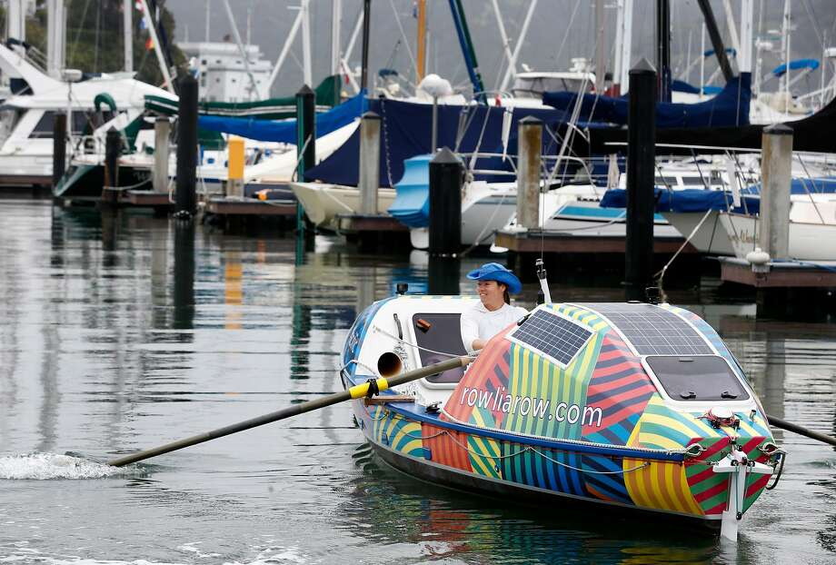 Lia Ditton departs aboard her 21-foot boat from the San Francisco Yacht Club in Belvedere. Photo: Paul Chinn / The Chronicle