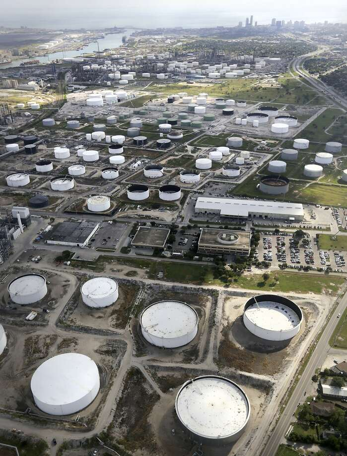 Oil storage tanks next to Port Corpus Christi.  Monday, Oct. 28, 2013. Photo: Bob Owen, San Antonio Express-News
