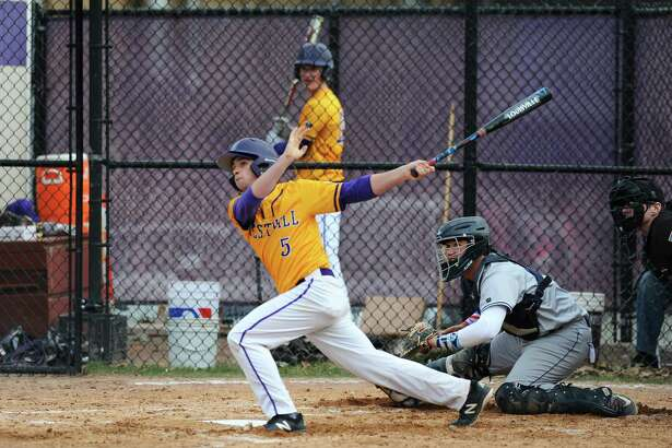 Westhill shortstop TJ Wainwright bats against Wilton in an April 9 game in Stamford.
