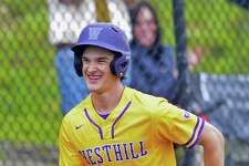 Westhill's Bobby Zmarzlak rounds the bases following his grand slam against Pomperaug in a 2017 game in Stamford.