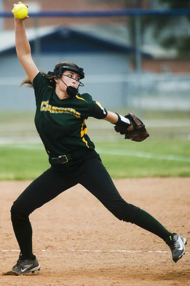 Dow's Mary Juengel pitches the ball during the Chargers' game against Meridian on Tuesday, April 24, 2018 at Meridian High School. (Katy Kildee/kkildee@mdn.net) Photo: (Katy Kildee/kkildee@mdn.net)