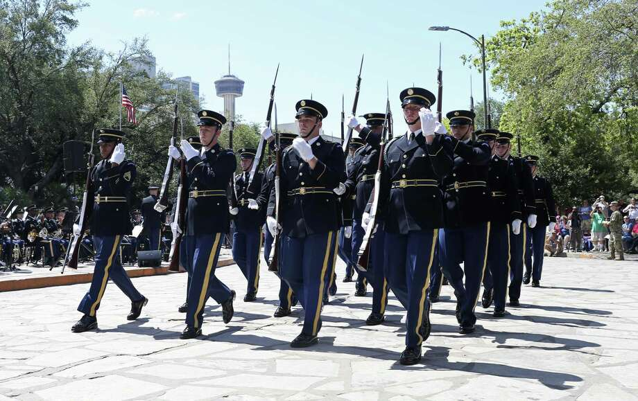 The U.S. Army Drill Team performs during Army Day at the Alamo, Tuesday, April 24, 2018. The event, which is part of Fiesta, celebrates the Army's 173 years in San Antonio. Photo: JERRY LARA / San Antonio Express-News / San Antonio Express-News
