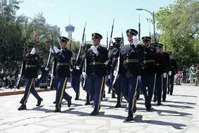 The U.S. Army Drill Team performs during Army Day at the Alamo, Tuesday, April 24, 2018. The event, which is part of Fiesta, celebrates the Army's 173 years in San Antonio.