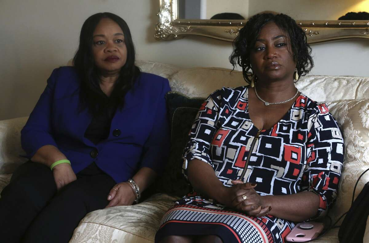 Sandra Thompson, right, speaks alongside Sandra Harrison, both golfers and members of a group of local women known as Sisters in the Fairway, during an interview with The Associated Press, Tuesday April 24, 2018 in York, Pa. Officials at the Grandview Golf Club in York called police on the group Saturday, accusing them of playing too slowly and holding up others behind them. On Sunday club co-owner JJ Chronister told the York Daily Record she called the women personally to
