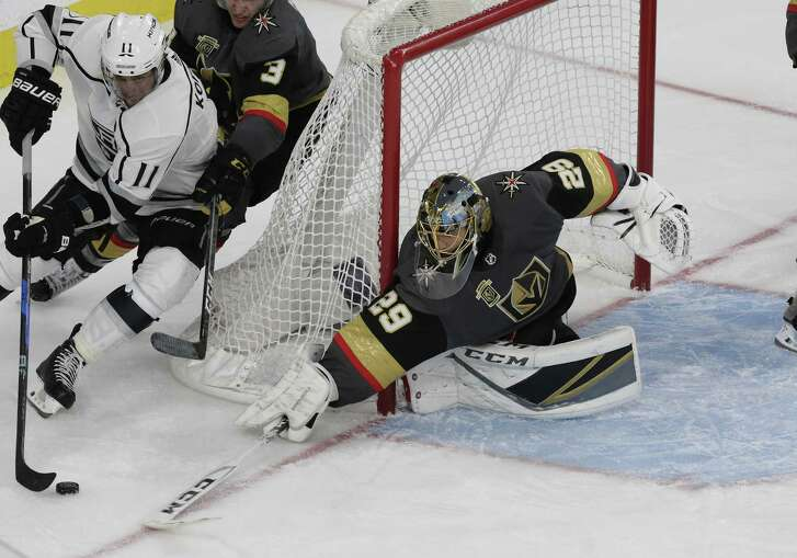 LAS VEGAS, NV - APRIL 13: Vegas Golden Knights goaltender Marc-Andre Fleury (29) reaches for the puck during Game Two of the Western Conference First Round of the 2018 NHL Stanley Cup Playoffs between the L.A. Kings and the Vegas Golden Knights Friday, April 13, 2018, at T-Mobile Arena in Las Vegas, Nevada. (Photo by: Marc Sanchez/Icon Sportswire via Getty Images)