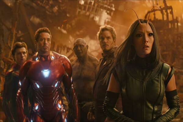 """From left, Tom Holland, Robert Downey Jr., Dave Bautista, Chris Pratt and Pom Klementieff in a scene from """"Avengers: Infinity War."""""""