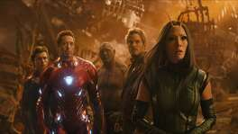 "From left, Tom Holland, Robert Downey Jr., Dave Bautista, Chris Pratt and Pom Klementieff in a scene from ""Avengers: Infinity War."""