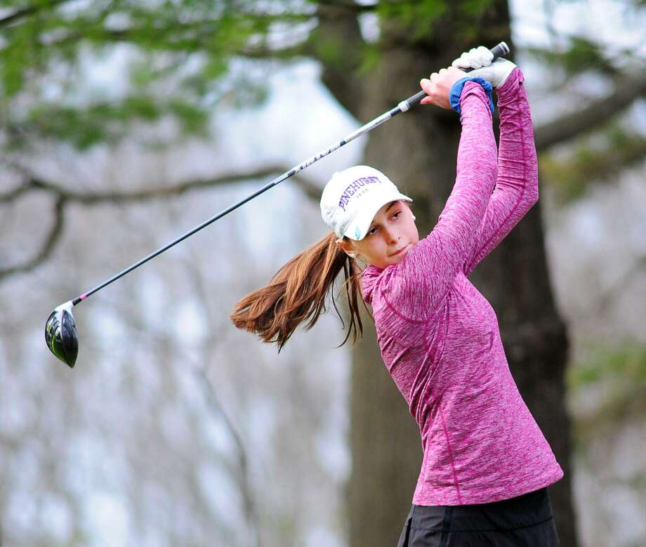 Greenwich's Sydney Nethercott drives off the first tee against Fairfield Ludlowe on Tuesday at the Griffith E. Harris Golf Course in Greenwich. Photo: Bob Luckey Jr. / Hearst Connecticut Media / Greenwich Time