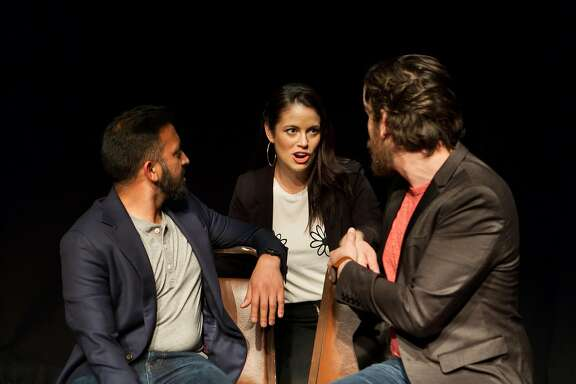 "From left:�Sahil Desai, Brianna Cala and Ittai Geiger in ""Drunk Theatre"" at PianoFight."