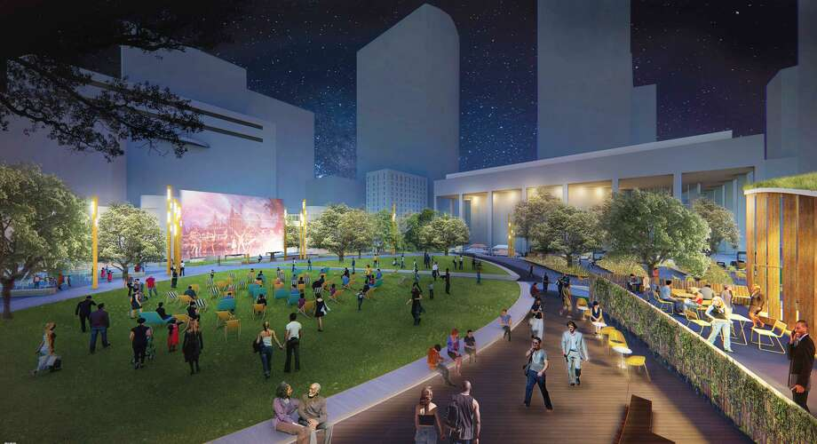 Houston First Corporation announced the redevelopment plans for Jones Plaza, located in the heart of downtown's Theater District. Rios Clementi Hale Studios, was selected to lead the project, which aims to revitalize the plaza into a vibrant public square for all visitors. The project will begin in May 2018 and is slated for completion in November 2020. Photo: Houston First Corp. / handout