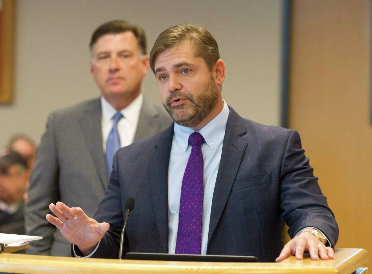 Rich Muller, an attorney with the Montgomery County Toll Road Authority, speaks about the Texas 249 toll road project during a Montgomery County Commissioners Court meeting at the Alan B. Sadler Commissioners Court Building, Tuesday, April 24, 2018, in Conroe.