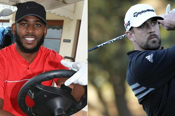 Split photo of Rockets' Chris Paul and Green Bay Packers quarterback Aaron Rodgers in golf attire.