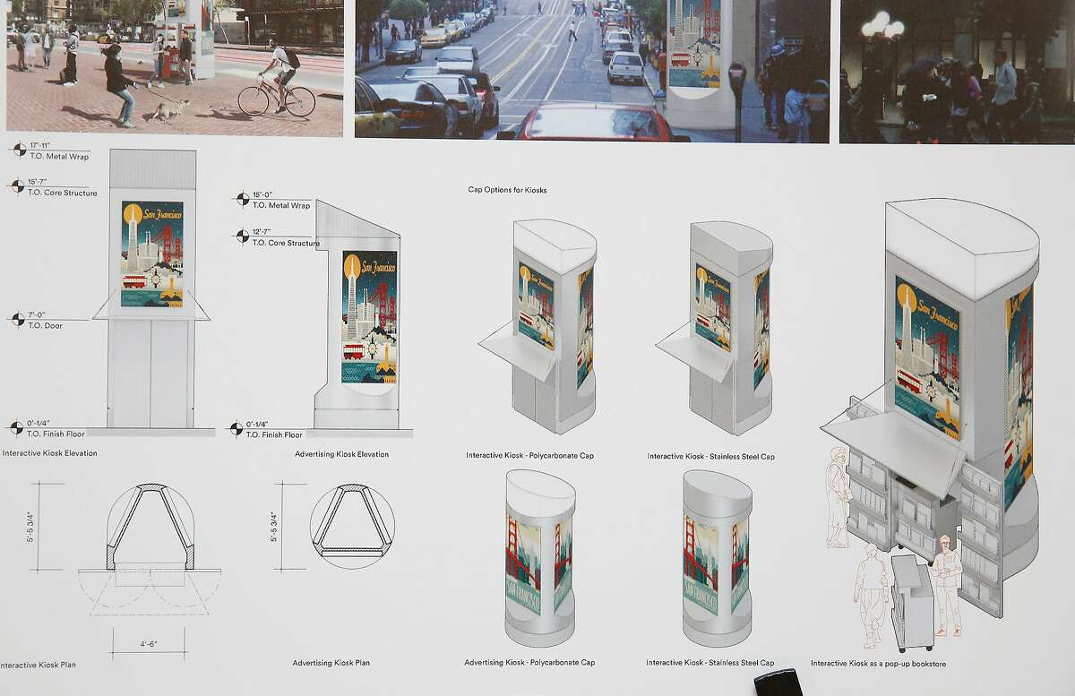 A detail is seen of the design of finalist Min Design for replacement of San Francisco's on-street public toilets on a display board at the main library in San Francisco, Calif., on Tuesday, April 24, 2018.