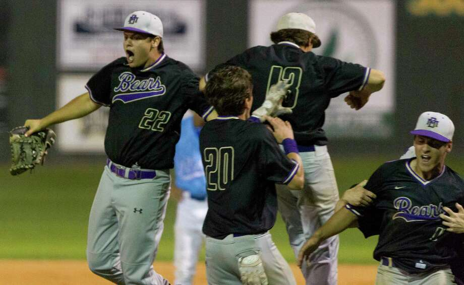 Montgomery players celebrate after defeating Oak Ridge 6-5 during a District 12-6A high school baseball game, Tuesday, April 24, 2018. Photo: Jason Fochtman, Staff Photographer / © 2018 Houston Chronicle