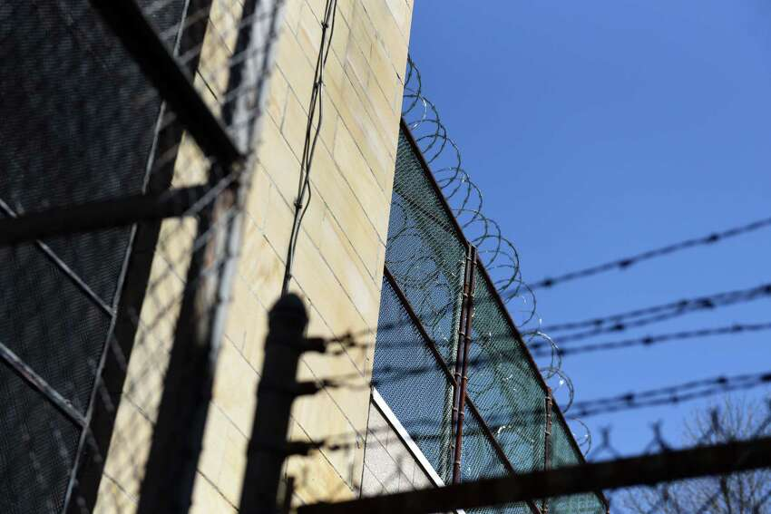 Exterior wall and wire at the Greene County Jail on Tuesday, April 24, 2018, in Catskill, N.Y. Sheriff Gregory Seeley shut down his jail late last week, sending all of his prisoners to neighboring county jail because of the decaying state of the structure. The sheriff and Greene County are at odds over details of a new jail. (Will Waldron/Times Union)