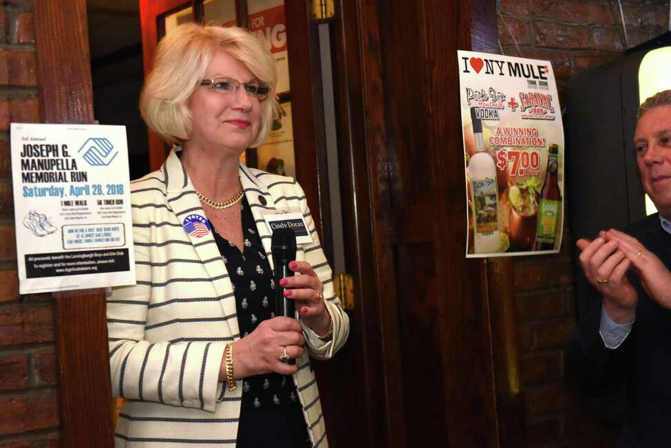 Democratic Assembly candidate Cindy Doran thanks her supporters for coming out to wait for election results to come in at Forty One Sports Bar & Grille on Tuesday April 24, 2018 in Lansingburgh, N.Y. The special election was held to replace Steve McLaughlin's Assembly seat. (Lori Van Buren/Times Union)
