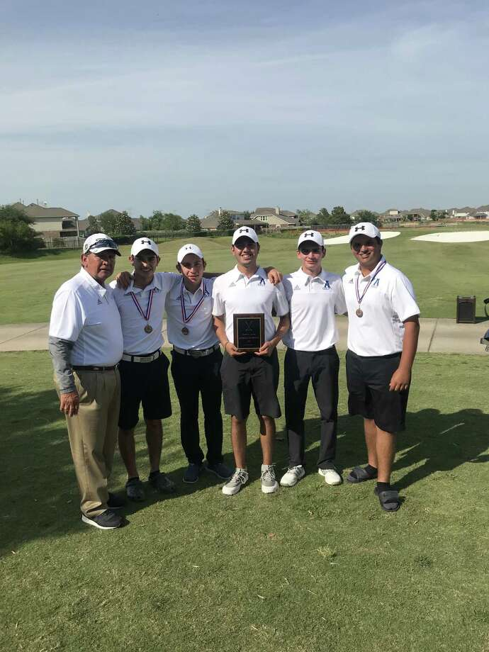 The St. Augustine golf team advanced to the state tournament with a second-place finish Tuesday at the regional championships. Pictured from left are coach Roberto Mancha, Horacio Perez, Marcelo Garza, Santi Saenz, Mauricio Calderon and Paul Young III. Photo: Courtesy Photo