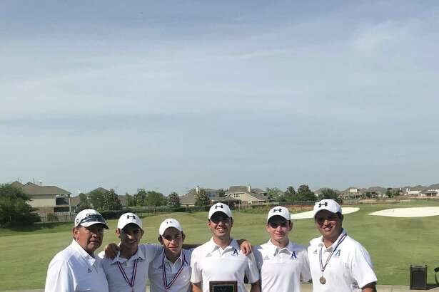 The St. Augustine golf team advanced to the state tournament with a second-place finish Tuesday at the regional championships. Pictured from left are coach Roberto Mancha, Horacio Perez, Marcelo Garza, Santi Saenz, Mauricio Calderon and Paul Young III.