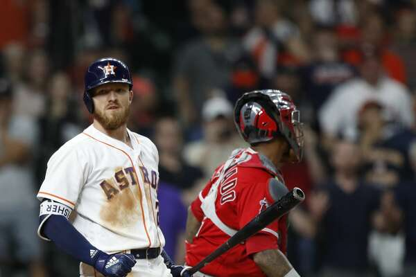 Houston Astros Derek Fisher (21) reacts after striking out to end an MLB game at Minute Maid Park, Tuesday, April 24, 2018, in Houston. ( Karen Warren  / Houston Chronicle )