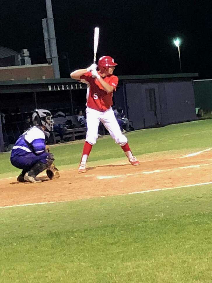 Crosby senior Jacob Bell bats against Humble in a game at Humble on April 24