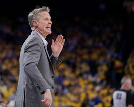 Golden State Warriors' head coach Steve Kerr calls out to his team in the second quarter during game 5 of round 1 of the Western Conference Finals at Oracle Arena on Tuesday, April 24, 2018 in Oakland, Calif.