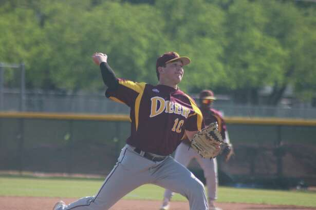 Deer Park's Bryce Mead goes through his motion during Tuesday's game against Memorial. Mead pitched over six strong innings as he helped his teammates overcome an early 3-0 deficit.