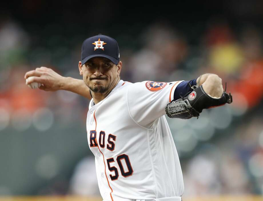 Astros starting pitcher Charlie Morton (50) fires to the plate during the first inning Monday against the Yankees. Photo: Karen Warren/Houston Chronicle