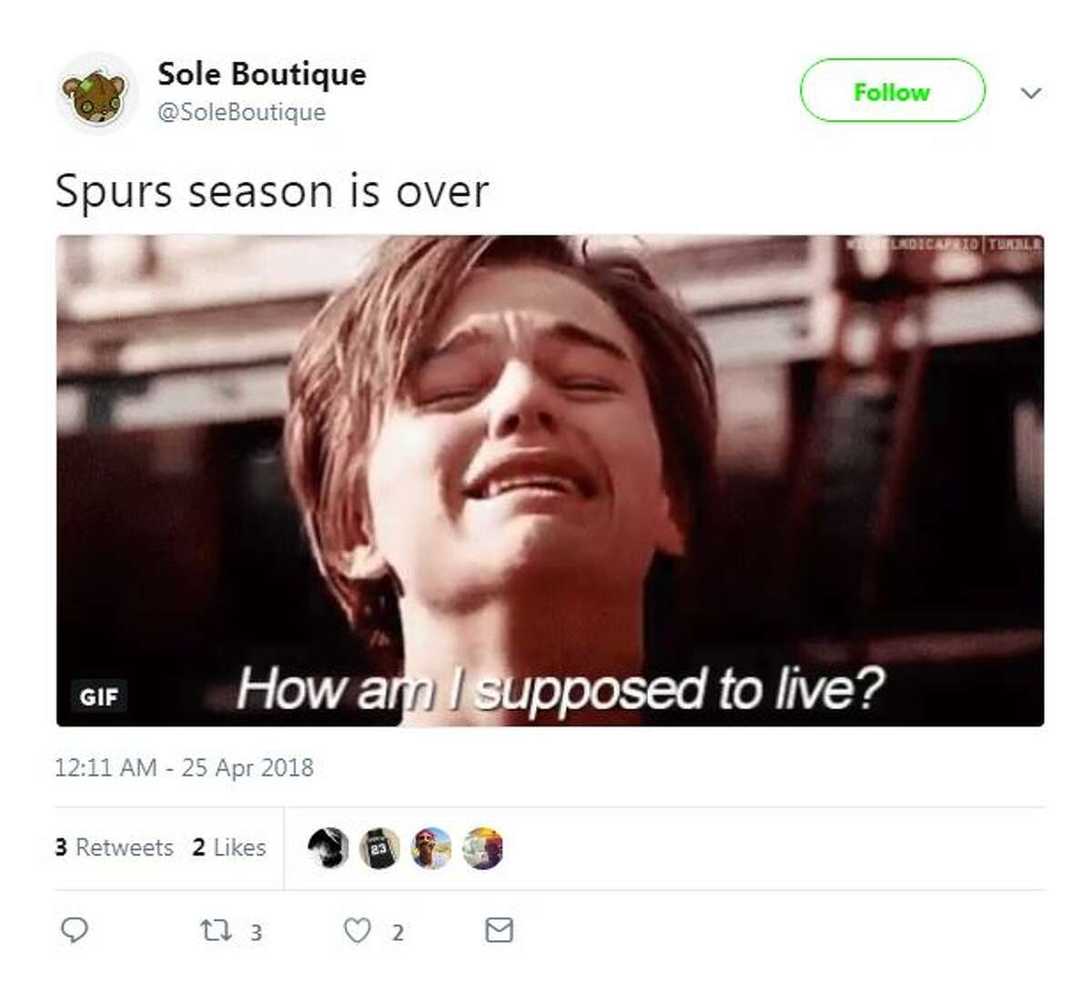 Spurs fans reacted on Twitter after Spurs fall to Warriors in game 5.