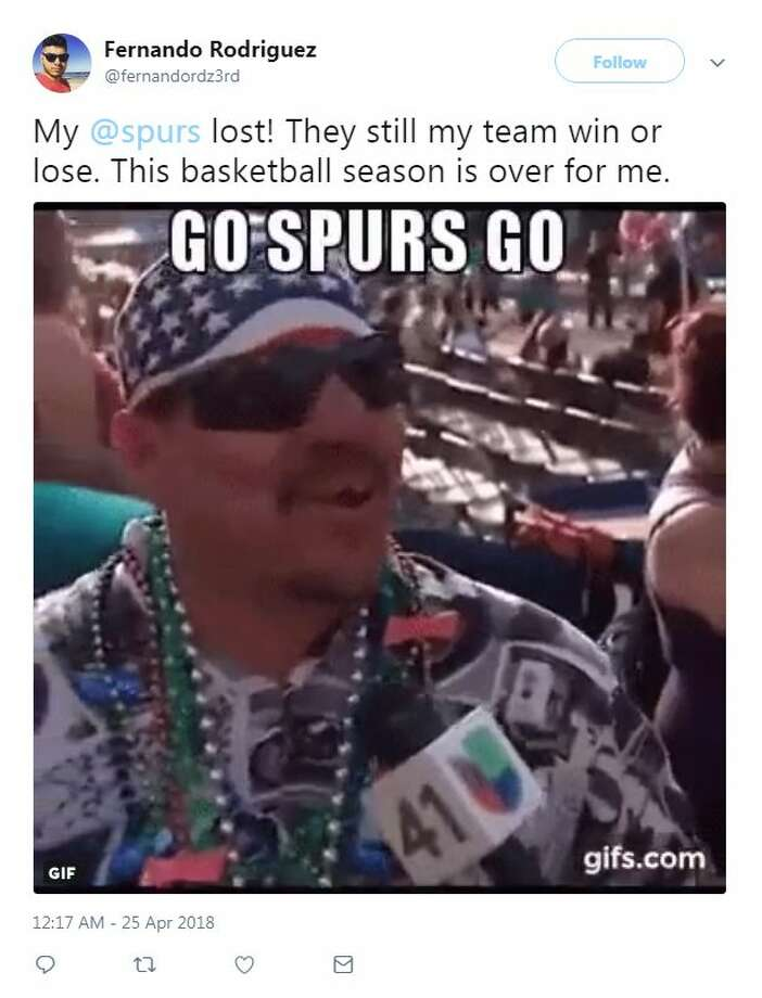Spurs fans reacted on Twitter after Spurs fall to Warriors in game 5. Photo: Twitter