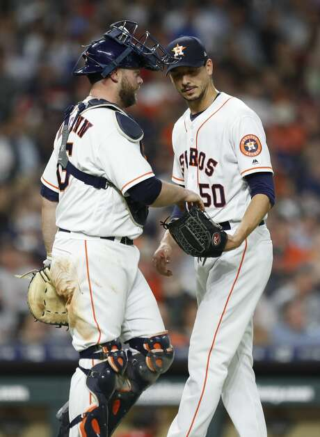 Houston Astros starting pitcher Charlie Morton (50) chats with catcher Brian McCann (16) between pitches during the third inning of an MLB game at Minute Maid Park, Tuesday, April 24, 2018, in Houston. ( Karen Warren  / Houston Chronicle ) Photo: Karen Warren/Houston Chronicle