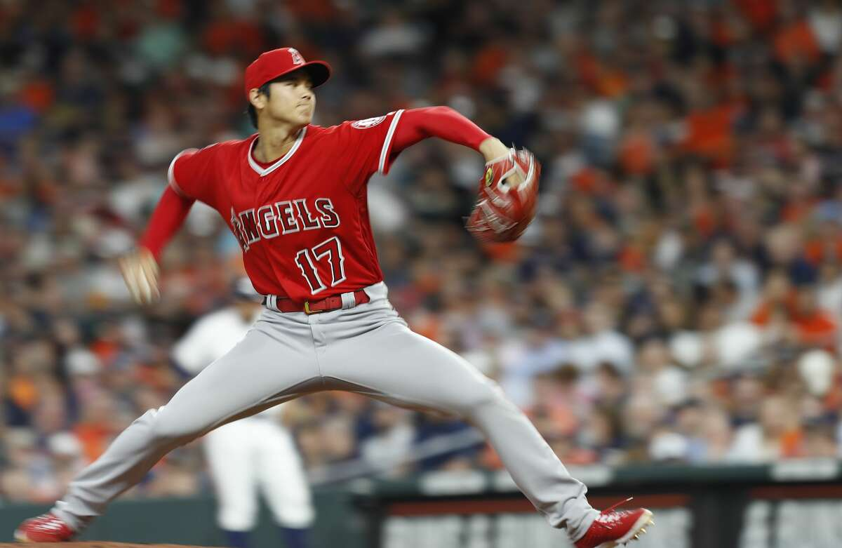 Los Angeles Angels starting pitcher Shohei Ohtani (17) pitches during the fifth inning of an MLB game at Minute Maid Park, Tuesday, April 24, 2018, in Houston. ( Karen Warren / Houston Chronicle )