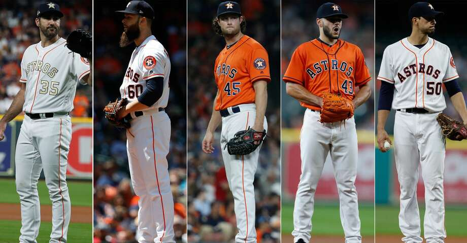 An Astros rotation led by (from left) Justin Verlander, followed by Dallas Keuchel, Gerrit Cole, Lance McCullers Jr. and Charlie Morton is meeting the expectations set before the season began. Photo: Karen Warren