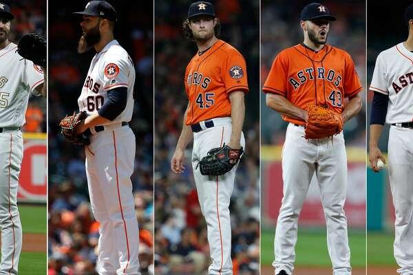 Split photo of the 2018 Astros starters.