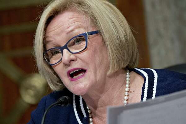 Sen. Claire McCaskill, D-Mo., at a Senate hearing in Washington on Sept. 27, 2017.