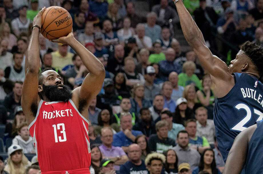 When James Harden heated up Monday night, the game turned from close to a rout. Photo: Carlos Gonzalez, TNS / Minneapolis Star Tribune