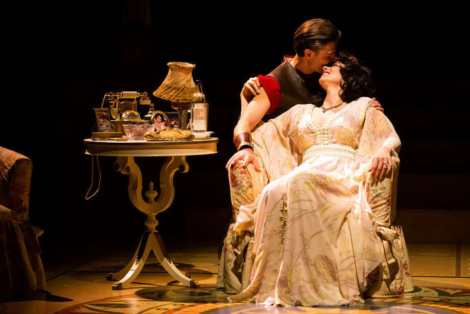 Richard Short as Richard Burton and Lisa Birnbaum as Elizabeth Taylor in the Alley Theatre's World Premiere production CLEO, by Lawrence Wright. Directed by Bob Balaban, the play runs through April 29 in the Hubbard Theatre.