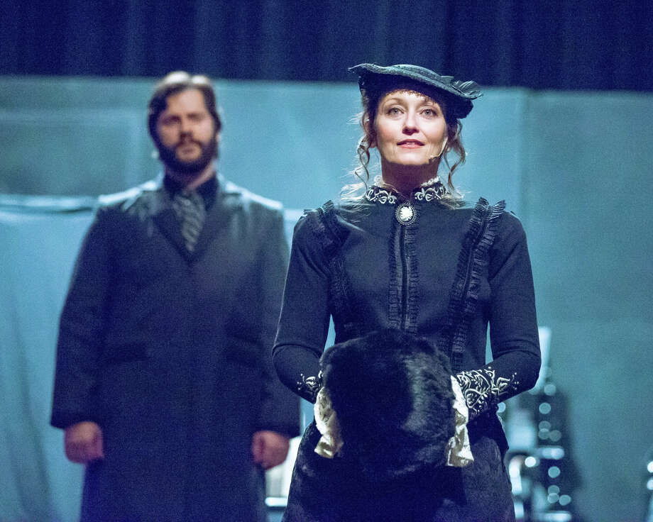 """Brian Heaton as Treaves, left, and Patrice Kentimenos as Mrs. Kendal in Stage Right's """"The Elephant Man"""" on stage at the Crighton Theatre through Sunday."""