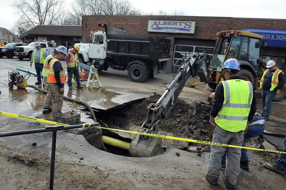 A severe break of a 16-inch water main has put much of Danbury under a water emergency on Tuesday, April 24, 2018. The broken water main is affecting operations at Danbury Hospital, closed two schools and left a third of the city without water or low water pressure. The break on Tamarack Avenue and Hayestown avenues that happened early Tuesday morning is affecting thousands of residents and scores of businesses. Photo: Carol Kaliff / Hearst Connecticut Media / The News-Times