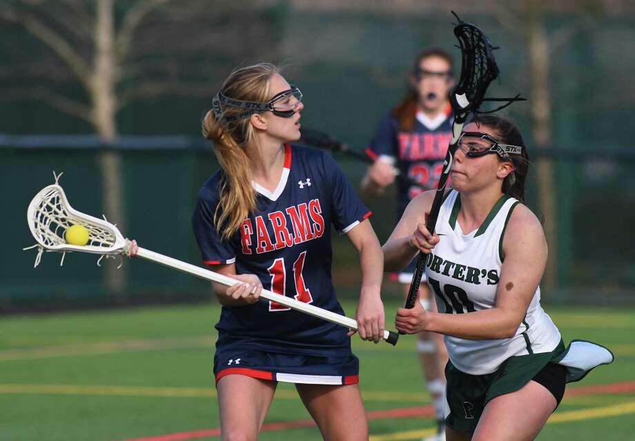 GFA girls lacrosse player Bella Litt of Darien scored eight goals in the Dragons' win over Kingswood-Oxford last week. Photo: Contributed Photo / Darien News contributed
