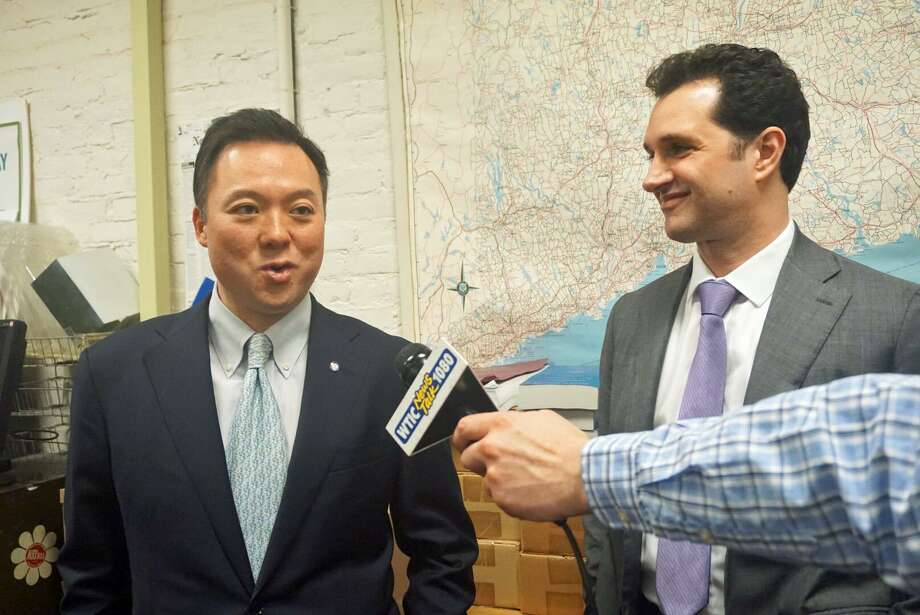 State Rep. William Tong, D-Stamford, (left) was endorsed for attorney general by Rep. Mike D'Agostino, D-Hamden, on Wednesday. Photo: Emilie Munson /